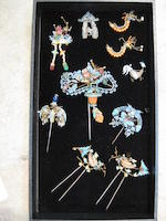 A group of nine pieces of kingfisher-decorated jewelry 19th century