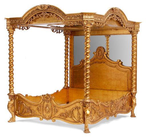 A Phyllis Morris giltwood four poster bed