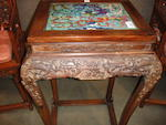 A pair of cloisonne mounted hongmu side tables 19th/20th century