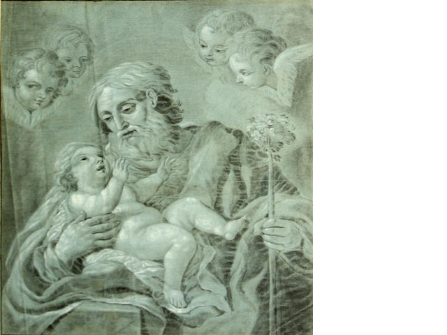Italian School SENDING TO CRISPIAN Saint Joseph holding the Christ Child 22 1/2 x 18in (57.2 x 45.7cm)