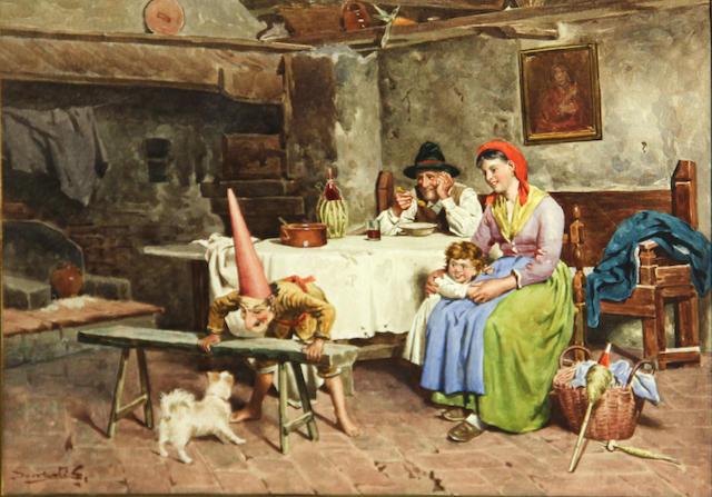 Italian School, late 19th Century A happy moment 8 1/4 x 11 1/2in