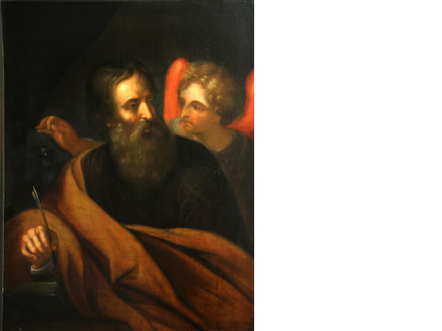 "Unknown Artist, Italian School, St. Matthew, Oil on canvas, 30"" x 24"" Together with: Unknown Artist, Italian School, St. John, Oil on canvas, 30"" x 24"""