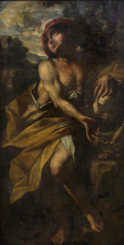 Follower of Giovanni Battista Spinelli (Italian, died circa 1660) David with the head of Goliath 48 1/4 x 24in
