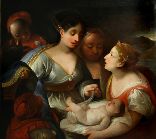 Lombard School, 17th Century The presentation of the infant Moses to Pharaoh's daughter 43 3/4 x 48 1/2in