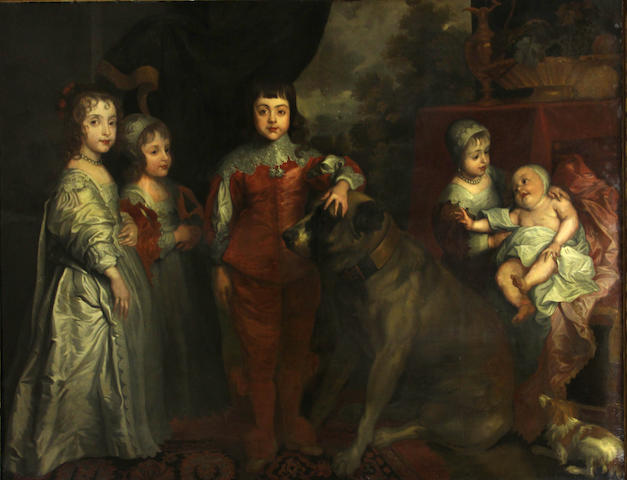 Attributed to Henry Stone (London 1616-1653) (After Sir Anthony Van Dyck) SENDING TO DD The five eldest children of King Charles I 61 x 76in