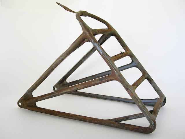 A teens era luggage rack for a Harley-Davidson motorcycle,