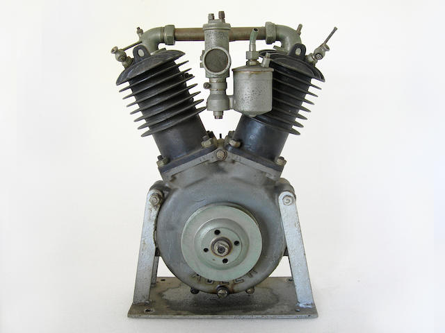 An Adler V-twin motorcycle engine,