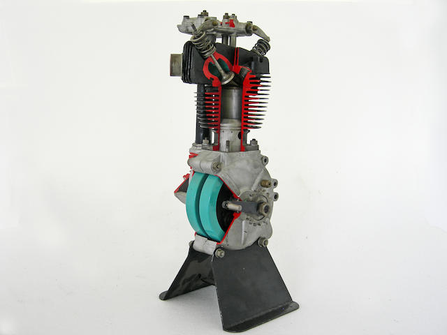A single cylinder cut away display engine,
