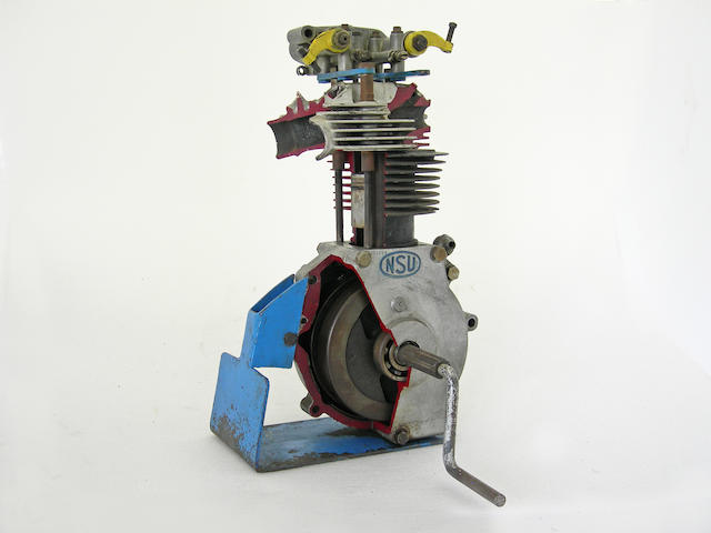 An NSU single cylinder cut away display engine,