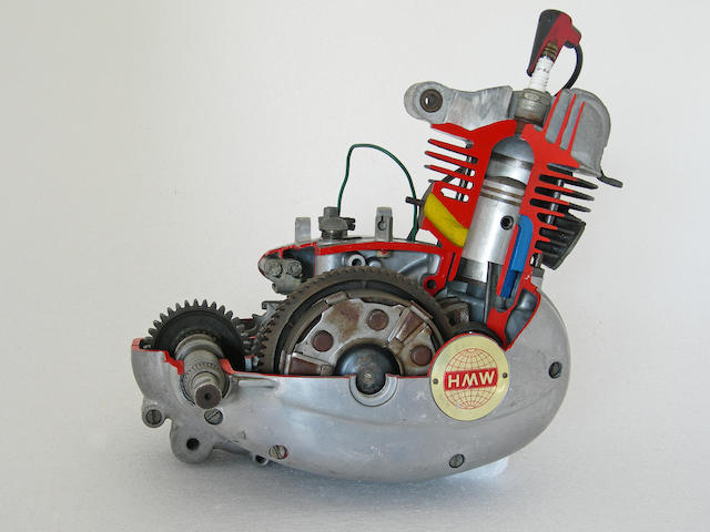 A HMW Cut away moped engine.