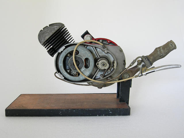 A moped cut away engine,