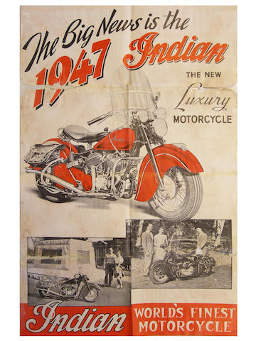 "An Indian Motorcycle, ""The Big News is The 1947 Indian,"" poster,"