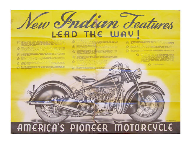 A 1946 Indian Chief Motorcycle promotional poster,