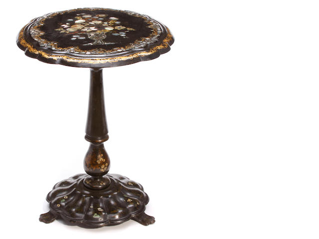 A Victorian mother of pearl inlaid papier mâché tilt top tea table