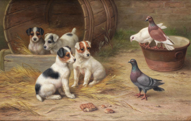 Edgar Hunt (British, 1876-1955) The curious neighbors 7 1/2 x 11 1/2 in. (19 x 29.5 cm.)