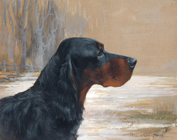 Reuben Ward Binks (British, 1880-1950) Champion Gordon Setter Peter of Crombie 14 x 17 1/4 in. (35.5 x 44 cm.)