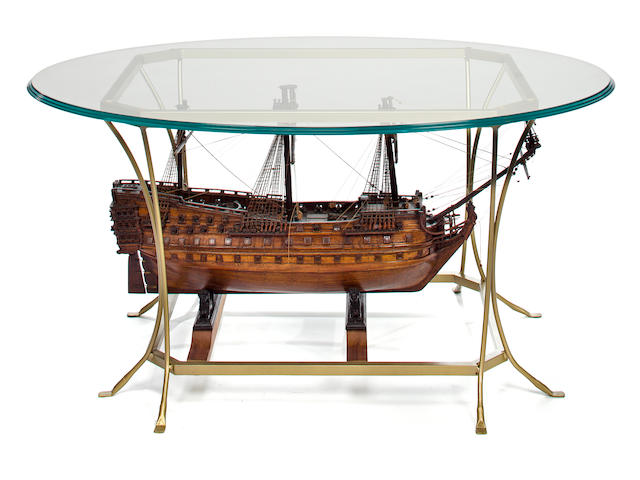 Frigate model glass top table