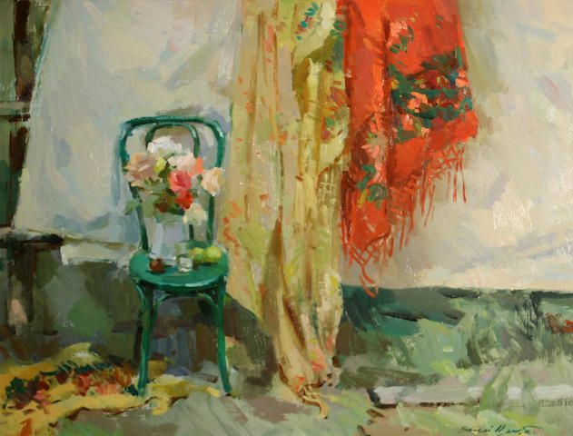 Sergei Bongart (Russian/American, 1918-1985) Chair with curtain sight: 23 1/2 x 29 1/2in