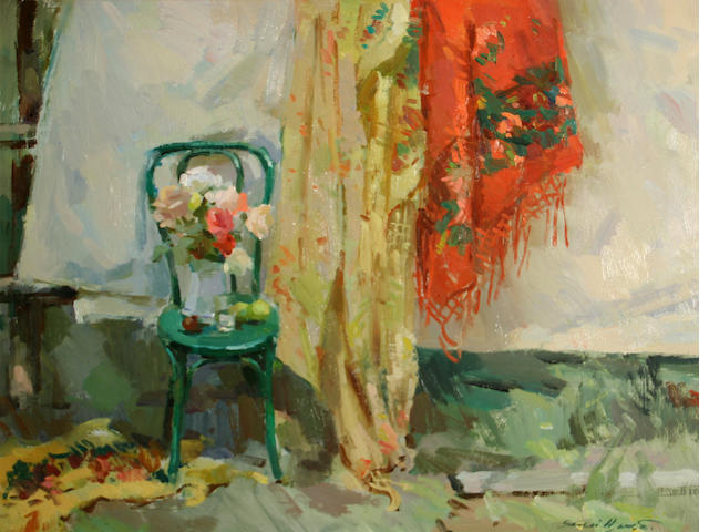 Sergei Bongart, Still Life; Chair with curtain, o/c
