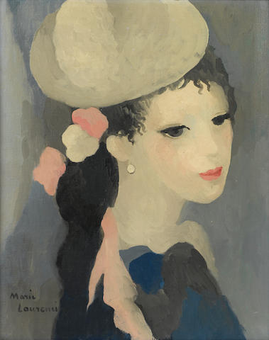 Marie Laurencin (1885-1956) Femme au chapeau 16 1/8 x 13in. (41 x 33cm)