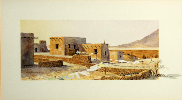 David Allen Halbach (American, born 1931) Pueblo washday, 1973 sight: 9 x 16in