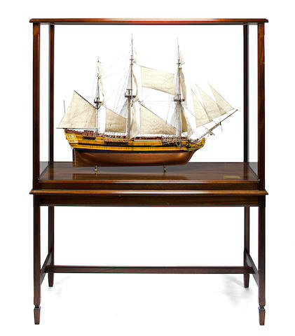 An exhibition standard model of the French ship L'Orion<BR /> 54 ¼ x 22 ¼ x 70 ¼in (137.8 x 56.5 x 178.4cm) cased on stand.