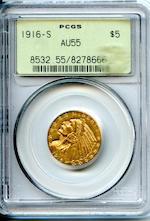 1916-S $5 AU55 PCGS