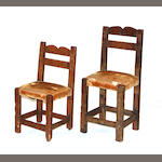 An associated pair of Arts and Crafts style child's chairs possibly Mexican