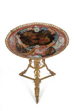 An Imari charger mounted on a gilt-metal stand, 19th century