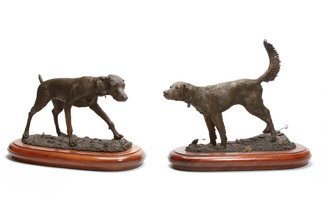 Two patinated bronze figures of pointers