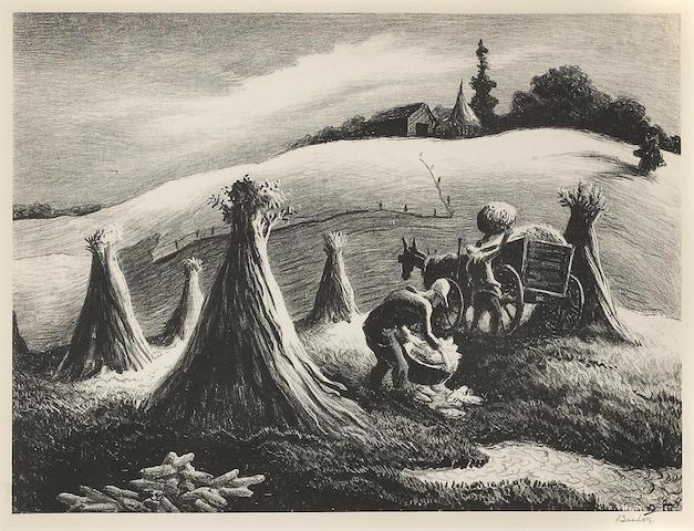 T.H. Benton, Loading Corn (F.65), 1945;