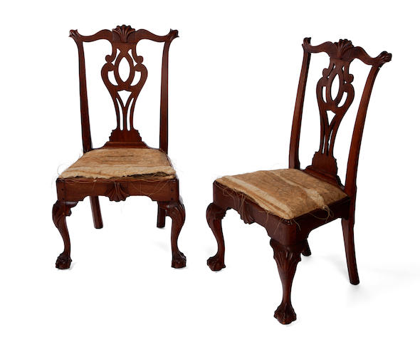 A pair of Chippendale carved walnut side chairs<BR />Philadelphia<BR />third quarter 18th century