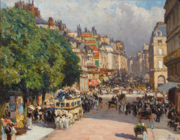 Achille Dien A Parisian street scene 10 1/2 x 13 3/4in