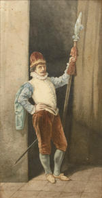 A. Jahn A cavalier; also two watercolors by the same hand (a group of three) first 12 x 6 1/2in; second 13 x 9in; third 11 1/4 x 8in