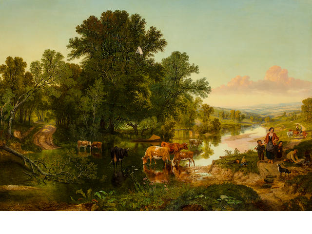 English school, Landscape with children and dog, oil on canvas 39 1/2 x 32in