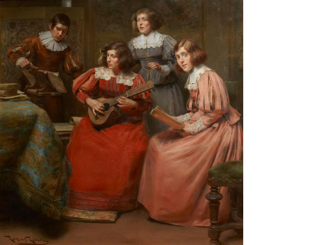 Román Ribera Cirera (Spanish, 1849-1935) The rehearsal 33 1/2 x 34in