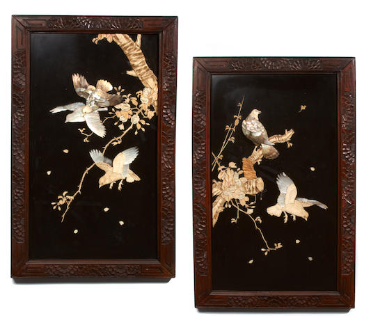 A pair of bone and mother of pearl inlaid decorative panels