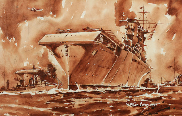 "Arthur E. Beaumont (American, 1890-1978), ""U.S.S. Lexington at sunset"", Watercolor on paper, circa 1942, signed lower right in gouache, ""Arthur Beaumont"", 10-1/2 x 16-1/2 in. Sight"