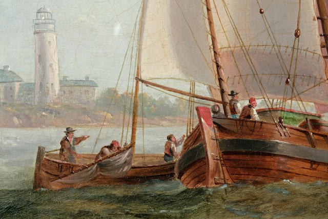 James Wilson Carmichael (British, 1799-1868) Entering Port<BR /> 27-1/4 x 35-1/4 in. (69.2 x 89.5 cm.)