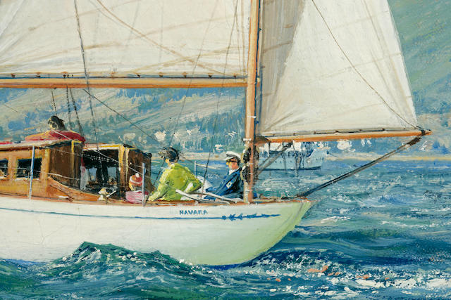 John Stobart (British, born  1929) The Fife Design Yawl 'Navara' races on the Clyde 20 x 30 in. (50.8 x 76.2 cm.)
