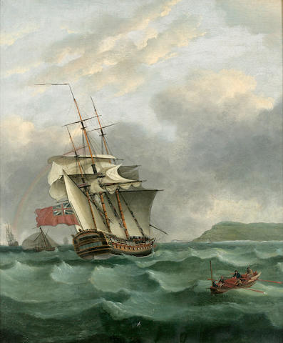 Attributed to Thomas Whitcombe (British, 1760-1824) The H.M.S. Winterton off Dover 27-1/2 x 23 in.