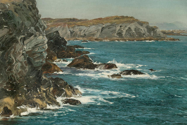 Montague Dawson (British, 1890-1973) A Rocky Coast 20 x 30-1/4 in. (50.8 x 76.8 cm.)