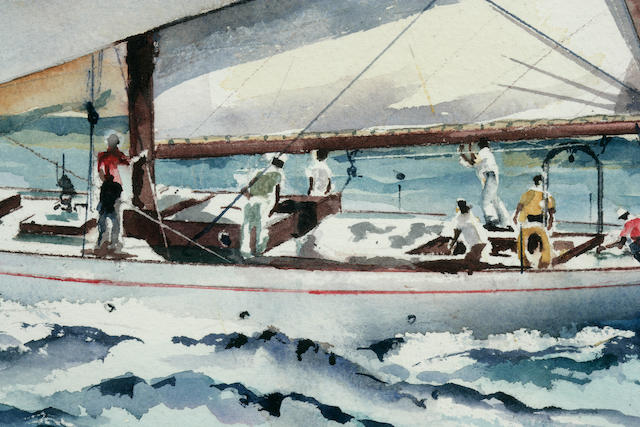 Anonymous, George Walls (American, 20th century) The schooner Serena at sea 21 x 29 in. (53.3 x 73.6 cm.), sight.