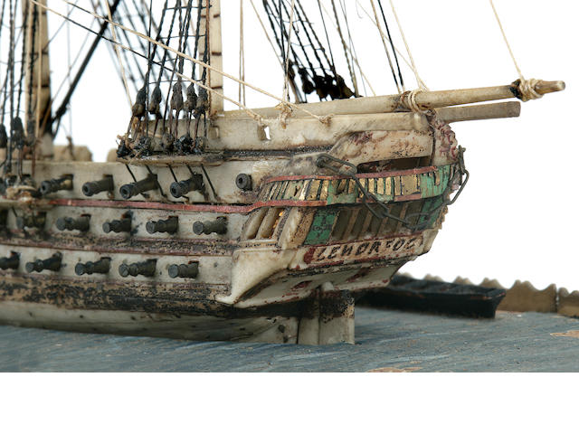 A Napoleonic POW waterline model of an American ship of the line