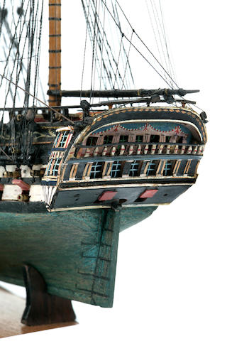 A Napoleonic POW boxwood model of the HMS Warrior