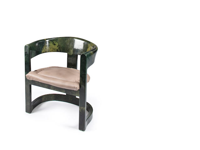 A Karl Springer lacquered wood 'Onasis' open armchair