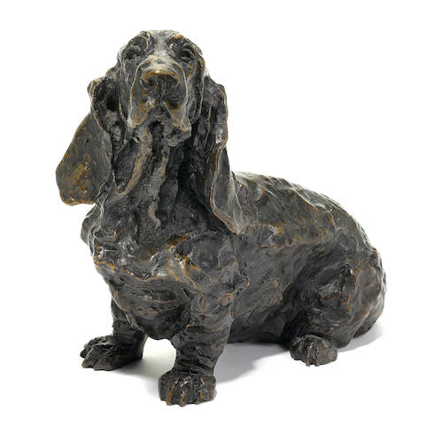 Rosemary Cook (British, 20th century) Pluto (A seated hound) 13 x 16 x 8 in. (33 x 41 x 20 cm.)