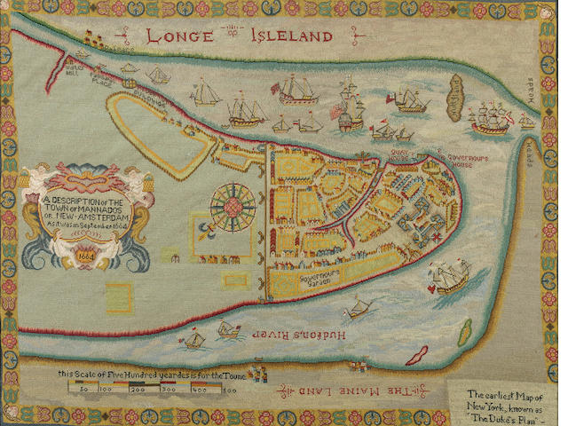 A needlework map of Manhattan Island, northern New Jersey shore and western Long Island<BR />American or English, mid-19th century