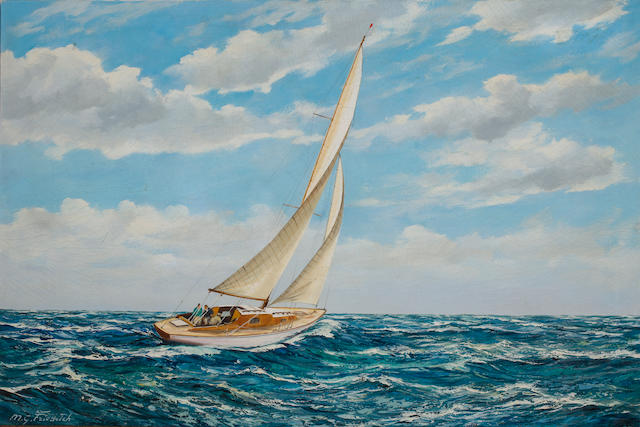 M.G. Friedrich (German, 20th Century) Sailing on a close reach  24 x 36 in. (60.9 x 91.4 cm.)
