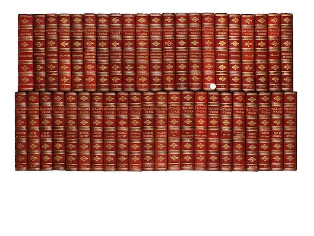 43 volumes of Voltaire, 3/4 red morocco